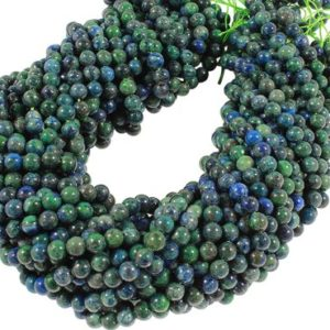 15 IN Strand 6 mm Azurite Round Smooth Gemstone Beads (AZR100102) | Natural genuine round Azurite beads for beading and jewelry making.  #jewelry #beads #beadedjewelry #diyjewelry #jewelrymaking #beadstore #beading #affiliate #ad