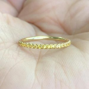 18K Sapphire Eternity Band 1.7mm 18K Pave Yellow Sapphire Full Eternity Ring 18K Sapphire Matching Eternity Yellow Sapphire Ring Infinity | Natural genuine Yellow Sapphire rings, simple unique handcrafted gemstone rings. #rings #jewelry #shopping #gift #handmade #fashion #style #affiliate #ad