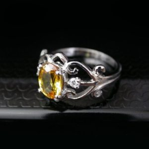 Shop Yellow Sapphire Rings! w. 2.18 natural yellow sapphire ring silver sz us 6.5 Resize free | Natural genuine Yellow Sapphire rings, simple unique handcrafted gemstone rings. #rings #jewelry #shopping #gift #handmade #fashion #style #affiliate #ad