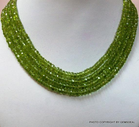 3.5mm Peridot Rondelle Faceted Beads Micro Faceted 13 Inch Peridot Beads Rondelle - Peridot Faceted Rondelles -faceted Peridot
