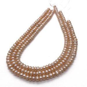 Shop Pearl Rondelle Beads! 6-7mm Freshwater Pearl Rondelle Beads, Pearl Jewelry | Natural genuine rondelle Pearl beads for beading and jewelry making.  #jewelry #beads #beadedjewelry #diyjewelry #jewelrymaking #beadstore #beading #affiliate #ad