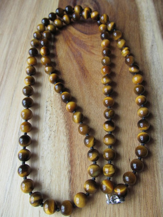 8mm Tiger Eye Necklace For Men, Beaded Tigereye,  Mens Jewelry, Long Necklace, Gift  For Men Tiger Eye, Gift For Musician, Tattoo Necklace