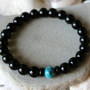 Shop Agate Bracelets! Black Agate Bracelet, Men Agate Bracelet, Blue African Turquoise Bracelet, African Turquoise Wrist Mala, Men Wrist Mala, Men Chakra Bracelet | Natural genuine Agate bracelets. Buy crystal jewelry, handmade handcrafted artisan jewelry for women.  Unique handmade gift ideas. #jewelry #beadedbracelets #beadedjewelry #gift #shopping #handmadejewelry #fashion #style #product #bracelets #affiliate #ad