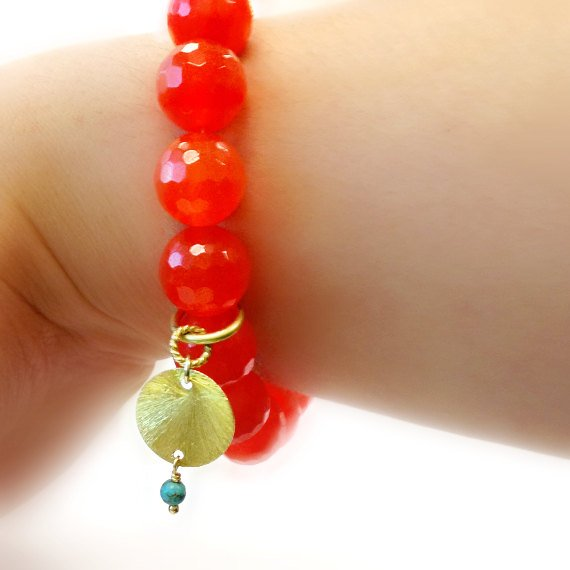 Orange Bracelet - Gold Vermeil Jewelry - Gemstone Jewellery - Neon Tangerine - Fluorescent - Agate - Statement - Fashion - Charm B-312 313