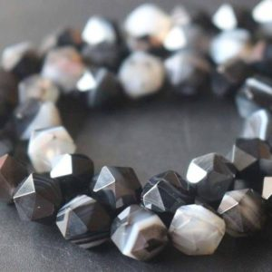 Shop Agate Chip & Nugget Beads! Natural Faceted Black Sardonyx Star Cut Nugget Beads, 6mm / 8mm / 10mm / 12mm Striped Agate Beads Supply, 15 Inches One Starand | Natural genuine chip Agate beads for beading and jewelry making.  #jewelry #beads #beadedjewelry #diyjewelry #jewelrymaking #beadstore #beading #affiliate #ad