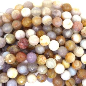 "Shop Agate Faceted Beads! 8mm faceted brown cream crazy lace agate round beads 15.5"" strand 37353 