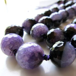 Shop Agate Faceted Beads! Agate Druzy Beads 14mm Faceted Polished Lavender Purple Rounds – 12 Pieces | Natural genuine faceted Agate beads for beading and jewelry making.  #jewelry #beads #beadedjewelry #diyjewelry #jewelrymaking #beadstore #beading #affiliate #ad