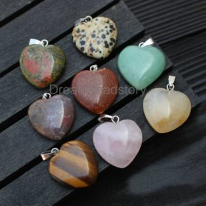 2-100 Pcs Natural Gemstone Heart Pendants Rose Quartz/ Aventurine/ Tiger Eye/ Agate/ Jade Charm Pendants for Jewelry Making | Natural genuine other-shape Agate beads for beading and jewelry making.  #jewelry #beads #beadedjewelry #diyjewelry #jewelrymaking #beadstore #beading #affiliate #ad