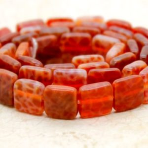 Shop Red Agate Beads! Fire Agate, Red Fire Agate Flat Faceted Square Natural Loose Gemstone Beads | Natural genuine beads Agate beads for beading and jewelry making.  #jewelry #beads #beadedjewelry #diyjewelry #jewelrymaking #beadstore #beading #affiliate #ad