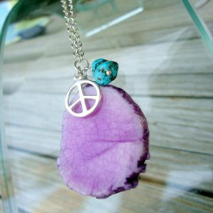 Shop Agate Pendants! Peace Sign Necklace – Purple Agate Jewelry – Gemstone Jewellery – Slice Slab Turquoise Nugget Sterling Silver Link Chain Pendant Charm TBM | Natural genuine Agate pendants. Buy crystal jewelry, handmade handcrafted artisan jewelry for women.  Unique handmade gift ideas. #jewelry #beadedpendants #beadedjewelry #gift #shopping #handmadejewelry #fashion #style #product #pendants #affiliate #ad