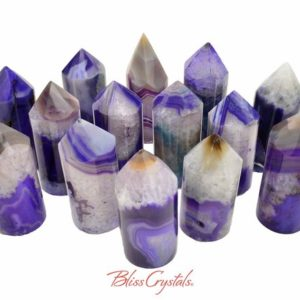 Shop Agate Points & Wands! 1 Large Fancy Purple AGATE Dyed Generator Point Tower Polished Color Enhanced Agate #AT03 | Natural genuine stones & crystals in various shapes & sizes. Buy raw cut, tumbled, or polished gemstones for making jewelry or crystal healing energy vibration raising reiki stones. #crystals #gemstones #crystalhealing #crystalsandgemstones #energyhealing #affiliate #ad