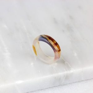 Brushed Agate Ring/ Stone Agate Ring/ Molten Lava Jewelry/ Agate Stone Band/ White Agate Ring | Natural genuine Array jewelry. Buy crystal jewelry, handmade handcrafted artisan jewelry for women.  Unique handmade gift ideas. #jewelry #beadedjewelry #beadedjewelry #gift #shopping #handmadejewelry #fashion #style #product #jewelry #affiliate #ad