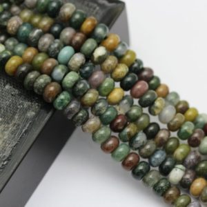 "2.0mm Hole Indian Agate Smooth Rondelle Beads 5x8mm 6x10mm 8"" Strand 