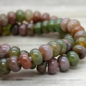 "Shop Agate Rondelle Beads! Green Forest Agate Rondelle Gemstone Beads 8"" strand (5mm x 8mm beads, 2.5 mm hole) 