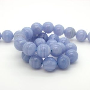 Shop Blue Lace Agate Beads! Blue Lace Agate Beads, Grade Aa Natural Agate Smooth Round Ball Sphere Gemstone Beads, 15.5 Inch Full Strand (6mm 8mm 10mm 12mm ) | Natural genuine round Blue Lace Agate beads for beading and jewelry making.  #jewelry #beads #beadedjewelry #diyjewelry #jewelrymaking #beadstore #beading #affiliate #ad