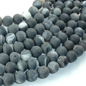 Shop Black Agate Beads! Druzy Agate Beads, Geode Beads, Black, 10mm(10.6mm) Round Beads, 15.5 Inch, Full strand, Approx 38 beads, Hole 1mm (122054251) | Natural genuine beads Agate beads for beading and jewelry making.  #jewelry #beads #beadedjewelry #diyjewelry #jewelrymaking #beadstore #beading #affiliate #ad