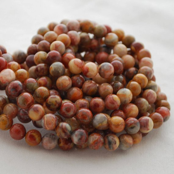"High Quality Grade A Red Crazy Lace Agate Semi-precious Gemstone Round Beads - 4mm, 6mm, 8mm, 10mm Sizes - Approx 15.5"" Strand"