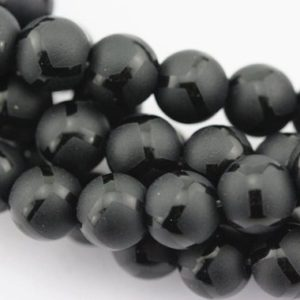 "Black Agate Soccer Shiny Design Matte Round Beads 6mm 8mm 10mm 15.5"" Strand 