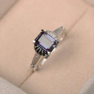 Shop Alexandrite Rings! Engagement Ring , lab Alexandrite Ring, solitaire Ring, color Changing Gemstone Ring, silver Ring, emerald Cut, june Birthstone | Natural genuine Alexandrite rings, simple unique alternative gemstone engagement rings. #rings #jewelry #bridal #wedding #jewelryaccessories #engagementrings #weddingideas #affiliate #ad
