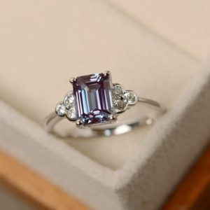 Lab alexandrite ring, emerald cut alexandrite | Natural genuine Alexandrite rings, simple unique handcrafted gemstone rings. #rings #jewelry #shopping #gift #handmade #fashion #style #affiliate #ad