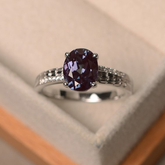 Alexandrite Ring Sterling Silver Scroll Ring Color Change Stone for June Birthstone
