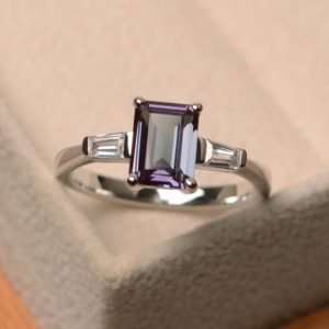 Shop Alexandrite Rings! Lab Alexandrite Ring, Wedding Ring, Emerald Cut Gemstone, Sterling Silver Ring, June Birthstone | Natural genuine Alexandrite rings, simple unique alternative gemstone engagement rings. #rings #jewelry #bridal #wedding #jewelryaccessories #engagementrings #weddingideas #affiliate #ad