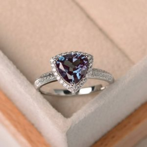 trillion cut, lab alexandrite ring, wedding ring, sterling silver ring, June birthstone ring, color changing gemstone ring | Natural genuine Alexandrite rings, simple unique alternative gemstone engagement rings. #rings #jewelry #bridal #wedding #jewelryaccessories #engagementrings #weddingideas #affiliate #ad