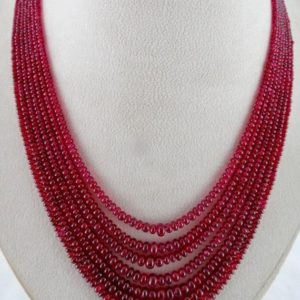 Shop Spinel Necklaces! Amazing Fine 330CTS Natural CERTIFIED RED Spinel Round Beads Necklace In Silk Cord | Natural genuine Spinel necklaces. Buy crystal jewelry, handmade handcrafted artisan jewelry for women.  Unique handmade gift ideas. #jewelry #beadednecklaces #beadedjewelry #gift #shopping #handmadejewelry #fashion #style #product #necklaces #affiliate #ad