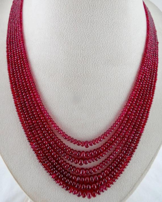 Amazing Fine 330cts Natural Certified Red Spinel Round Beads Necklace In Silk Cord