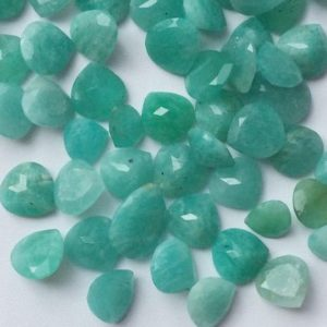 Shop Amazonite Cabochons! 8-10mm Amazonite Faceted Hearts, Amazonite Pavillion Cut Stone, Amazonite Gems, Loose Sea Blue Amazonite For Jewelry – 5 Pieces | Natural genuine stones & crystals in various shapes & sizes. Buy raw cut, tumbled, or polished gemstones for making jewelry or crystal healing energy vibration raising reiki stones. #crystals #gemstones #crystalhealing #crystalsandgemstones #energyhealing #affiliate #ad