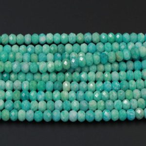 "Shop Amazonite Faceted Beads! AAA Peruvian Amazonite Faceted Rondelle 10mm Beads Large Natural Sea Blue Green Gemstone Micro Faceted Laser Diamond Cut 16"" Strand 