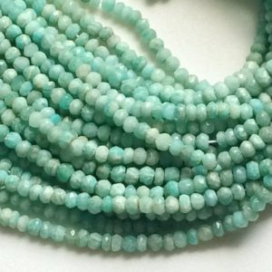 Shop Amazonite Faceted Beads! Amazonite Beads, Amazonite Faceted Rondelle Beads, Amazonite Necklace, Sea Foam Blue Gemstone, 4-4.5mm, 13 Inch – RAMA39 | Natural genuine faceted Amazonite beads for beading and jewelry making.  #jewelry #beads #beadedjewelry #diyjewelry #jewelrymaking #beadstore #beading #affiliate #ad