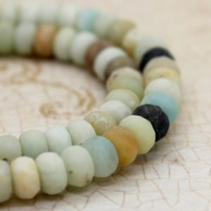 Shop Amazonite Faceted Beads! Matte Amazonite Rondelle Faceted Gemstone Beads | Natural genuine faceted Amazonite beads for beading and jewelry making.  #jewelry #beads #beadedjewelry #diyjewelry #jewelrymaking #beadstore #beading #affiliate #ad