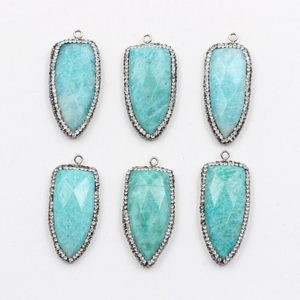 Shop Amazonite Jewelry! Amazonite Pendant — Wholesale With Pave CZ Diamond Zircon Edge Wholesale Supplies Charms YHA-044 | Natural genuine Amazonite jewelry. Buy crystal jewelry, handmade handcrafted artisan jewelry for women.  Unique handmade gift ideas. #jewelry #beadedjewelry #beadedjewelry #gift #shopping #handmadejewelry #fashion #style #product #jewelry #affiliate #ad