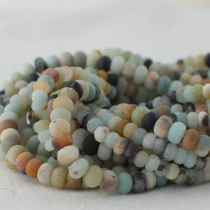High Quality Grade A Natural Multi-colour Amazonite Semi-Precious Gemstone Frosted / – MATTE – Rondelle / Spacer Beads – 4mm, 6mm, 8mm sizes | Natural genuine rondelle Amazonite beads for beading and jewelry making.  #jewelry #beads #beadedjewelry #diyjewelry #jewelrymaking #beadstore #beading #affiliate #ad
