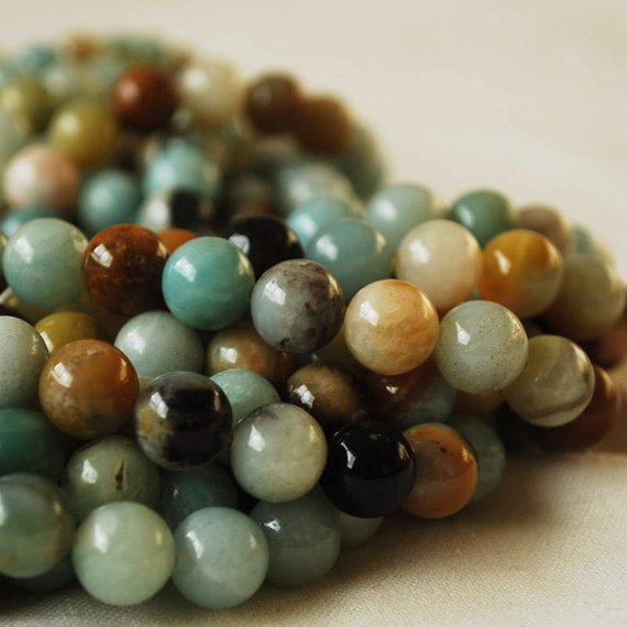"""High Quality Grade A Natural Multicolour Amazonite Semi-precious Gemstone Round Beads - 4mm, 6mm, 8mm, 10mm Sizes - Approx 16"""" Strand"""