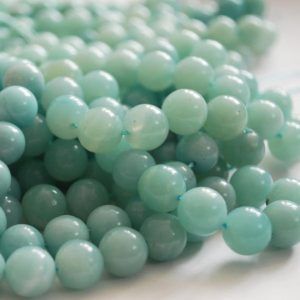 "Shop Amazonite Round Beads! High Quality Grade A Natural Amazonite Semi-precious Gemstone Round Beads – 4mm, 6mm, 8mm, 10mm 12mm sizes – Approx 15.5"" strand 