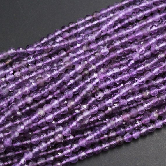 """Aaa Finest Natural Amethyst Faceted 5mm 6mm 8mm 10mm Round Beads Miro Faceted Genuine Real Purple Amethyst Gemstone Beads 16"""" Strand"""