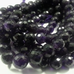 Shop Amethyst Faceted Beads! 8mm Natural Amethyst Faceted Round Beads, 9 inch | Natural genuine faceted Amethyst beads for beading and jewelry making.  #jewelry #beads #beadedjewelry #diyjewelry #jewelrymaking #beadstore #beading #affiliate #ad