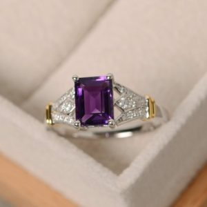 Shop Unique Amethyst Engagement Rings! Amethyst ring, emerald cut gemstone, natural quartz, gold ring, sterling silver, February birthsotne | Natural genuine Amethyst rings, simple unique handcrafted gemstone rings. #rings #jewelry #shopping #gift #handmade #fashion #style #affiliate #ad