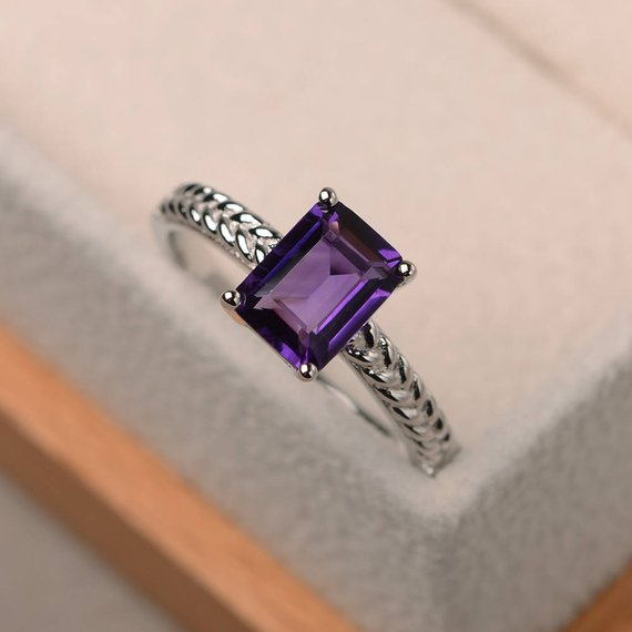 Engagement Ring, Natural Amethyst Ring, Emerald Cut Purple Gemstone, February Birthstone, Sterling Silver Ring