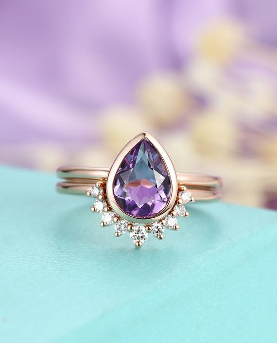 Amethyst Engagement Ring Set Vintage Pear Shaped Ring Set Rose Gold Curved Wedding Band Set Art Deco Bridal Ring Set Anniversary Ring Set