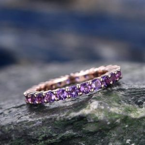 Shop Amethyst Rings! Natural 2mm round amethyst wedding ring band 14k rose gold unique antique full eternity matching band gift engagement bridal promise ring | Natural genuine Amethyst rings, simple unique alternative gemstone engagement rings. #rings #jewelry #bridal #wedding #jewelryaccessories #engagementrings #weddingideas #affiliate #ad