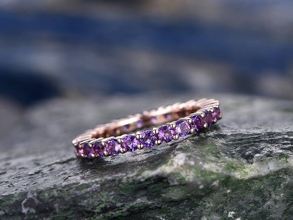 Natural 2mm Round Amethyst Wedding Ring Band 14k Rose Gold Unique Antique Full Eternity Matching Band Gift Engagement Bridal Promise Ring
