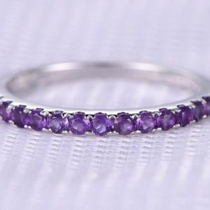 Natural 2mm Amethyst Wedding Ring Anniversary Ring 14k White Gold Purple Half Eternity Matching Band Personalized For Her / him Custom Ring | Natural genuine Gemstone rings, simple unique alternative gemstone engagement rings. #rings #jewelry #bridal #wedding #jewelryaccessories #engagementrings #weddingideas #affiliate #ad