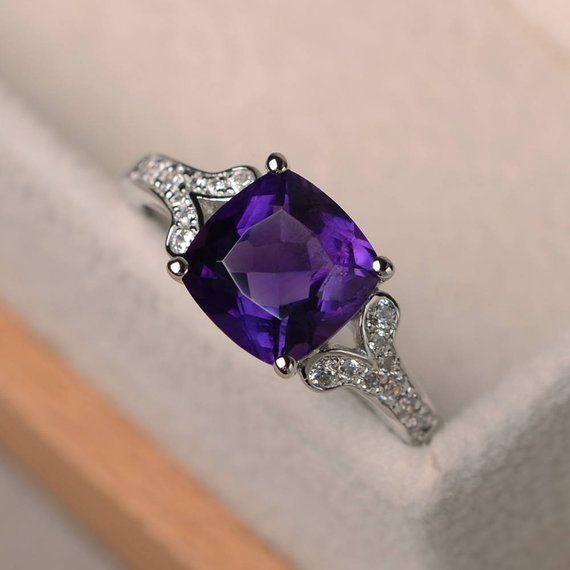 Natural Amethyst Ring, Cushion Cut Promise Engagement Ring, Silver Ring,purple Gemstone Ring,february Birthstone Ring