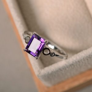Natural amethyst ring, purple amethyst gemstone, solitaire engagement, sterling sivler | Natural genuine Array jewelry. Buy handcrafted artisan wedding jewelry.  Unique handmade bridal jewelry gift ideas. #jewelry #beadedjewelry #gift #crystaljewelry #shopping #handmadejewelry #wedding #bridal #jewelry #affiliate #ad