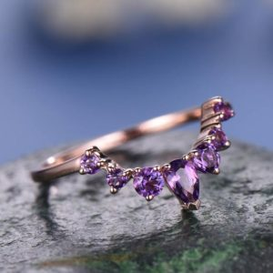 Shop Amethyst Rings! Natural amethyst wedding ring band 14k rose gold unique half eternity vintage petite curved crown matching promise engagement bridal ring | Natural genuine Amethyst rings, simple unique alternative gemstone engagement rings. #rings #jewelry #bridal #wedding #jewelryaccessories #engagementrings #weddingideas #affiliate #ad