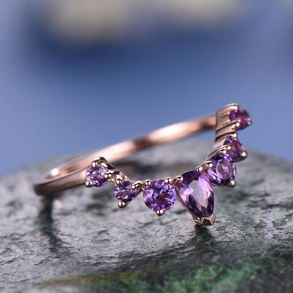 Natural Amethyst Wedding Ring Band 14k Rose Gold Unique Half Eternity Vintage Petite Curved Crown Matching Promise Engagement Bridal Ring