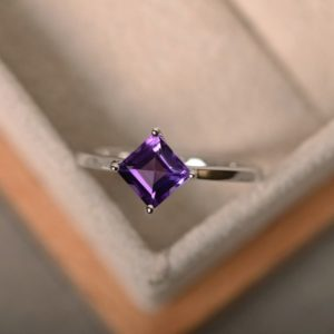 Amethyst Ring, Purple Gemstone, Sterling Silver, Square Amethyst, Solitaire Ring | Natural genuine Array jewelry. Buy crystal jewelry, handmade handcrafted artisan jewelry for women.  Unique handmade gift ideas. #jewelry #beadedjewelry #beadedjewelry #gift #shopping #handmadejewelry #fashion #style #product #jewelry #affiliate #ad